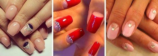 лунный маникюр со стразами на короткие ногти