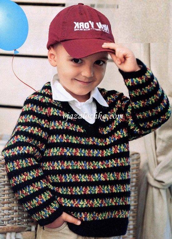Джемпер для мальчика 4 лет, вязанный спицами