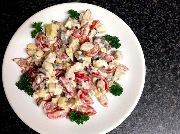 Салат с грибами и курицей рецепт с фото очень вкусный Затем выложить шампиньоны