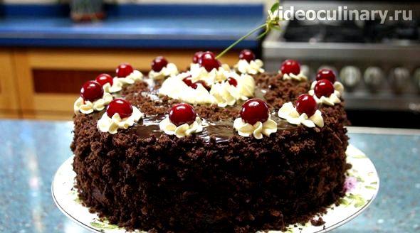 Торт пьяная вишня пошаговый рецепт с фото Кисточкой пропитываем бисквитную форму